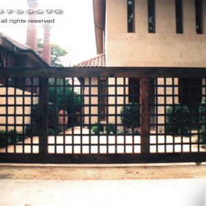 sliding timber and steel gate
