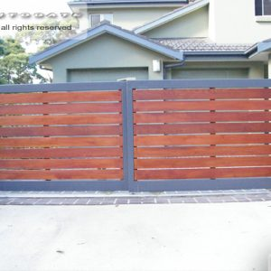 timber and steel dual sliding gates