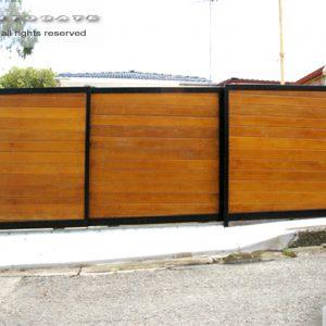 timber dual sliding gates