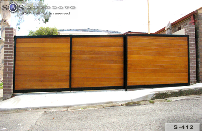 timber dual sliding gates