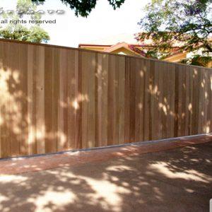 Cedar clad sliding gate