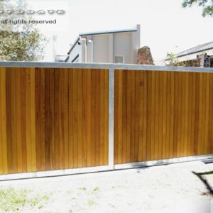 timber and steel sliding gate